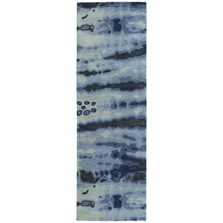 Kaleen Brushstrokes Blue Indoor Handcrafted Distressed Runner (Common: 3 x 8; Actual: 2.5-ft W x 8-ft L)