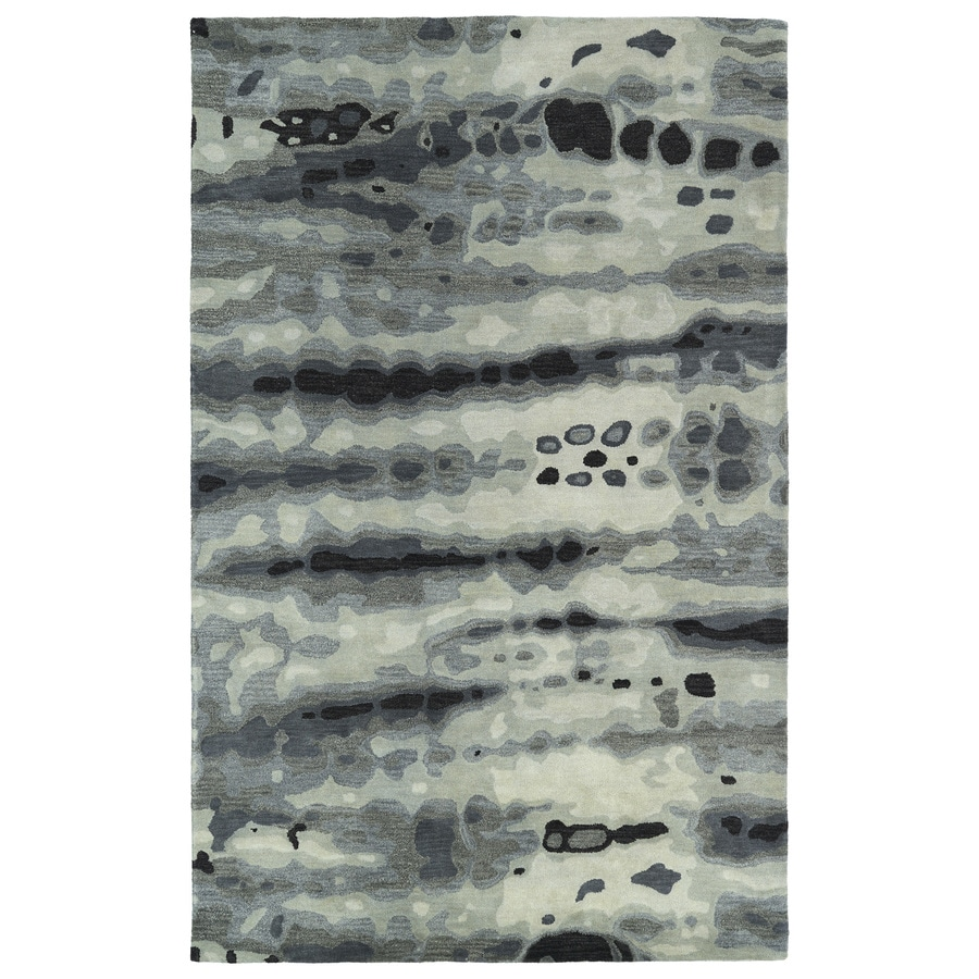 Kaleen Brushstrokes Grey Rectangular Indoor Handcrafted Distressed Area Rug (Common: 9 x 12; Actual: 9.5-ft W x 13-ft L x 0-ft Dia)