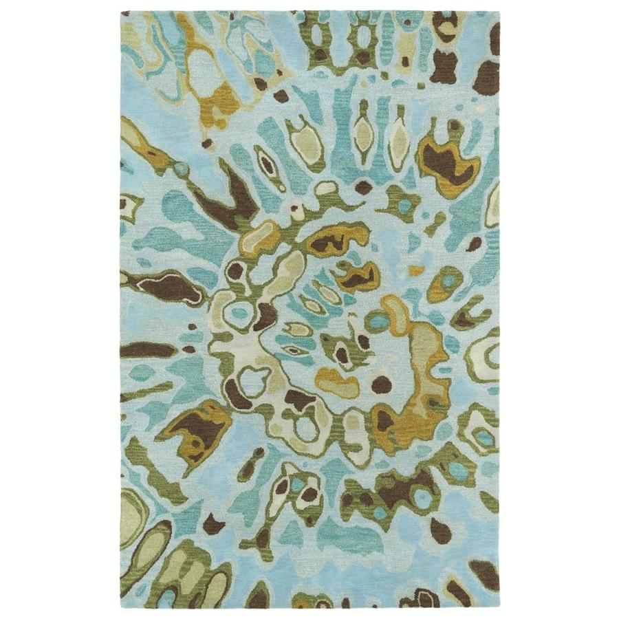 Kaleen Brushstrokes Teal Indoor Handcrafted Distressed Throw Rug (Common: 2 x 3; Actual: 2-ft W x 3-ft L)