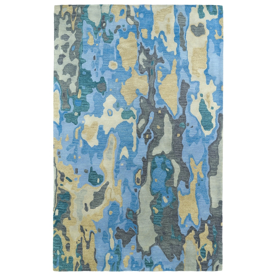 Kaleen Brushstrokes Blue Rectangular Indoor Handcrafted Distressed Area Rug (Common: 9 x 12; Actual: 9.5-ft W x 13-ft L)