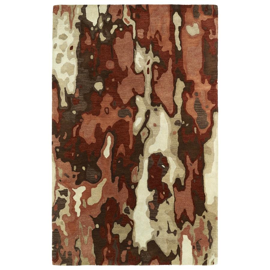 Kaleen Brushstrokes Rust Indoor Handcrafted Distressed Area Rug (Common: 9 x 12; Actual: 9.5-ft W x 13-ft L)