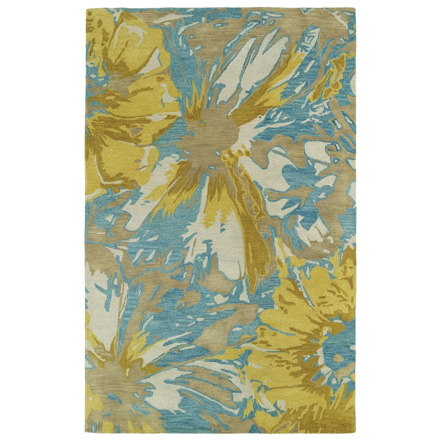 Kaleen Brushstrokes Gold Rectangular Indoor Handcrafted Distressed Area Rug (Common: 4 x 6; Actual: 3.5-ft W x 5.5-ft L)