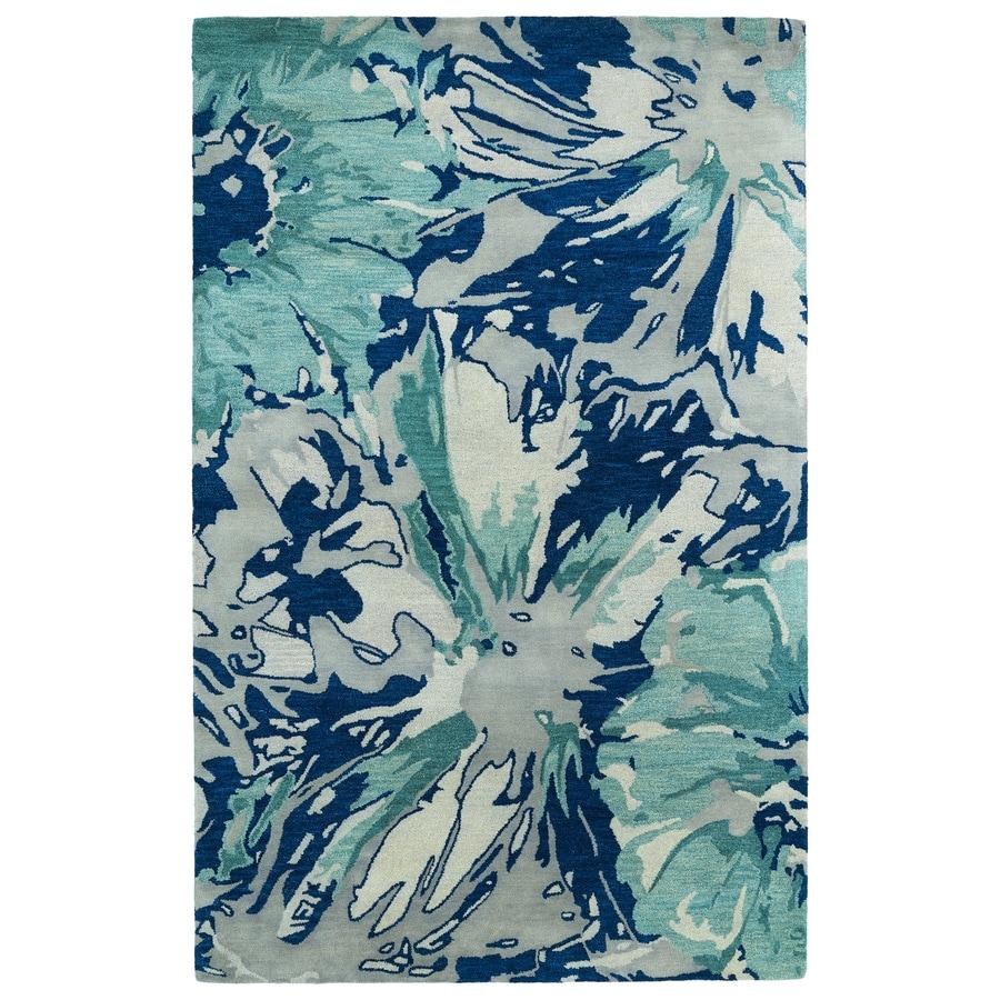 Kaleen Brushstrokes Blue Rectangular Indoor Handcrafted Distressed Area Rug (Common: 5 x 7; Actual: 5-ft W x 7.75-ft L)