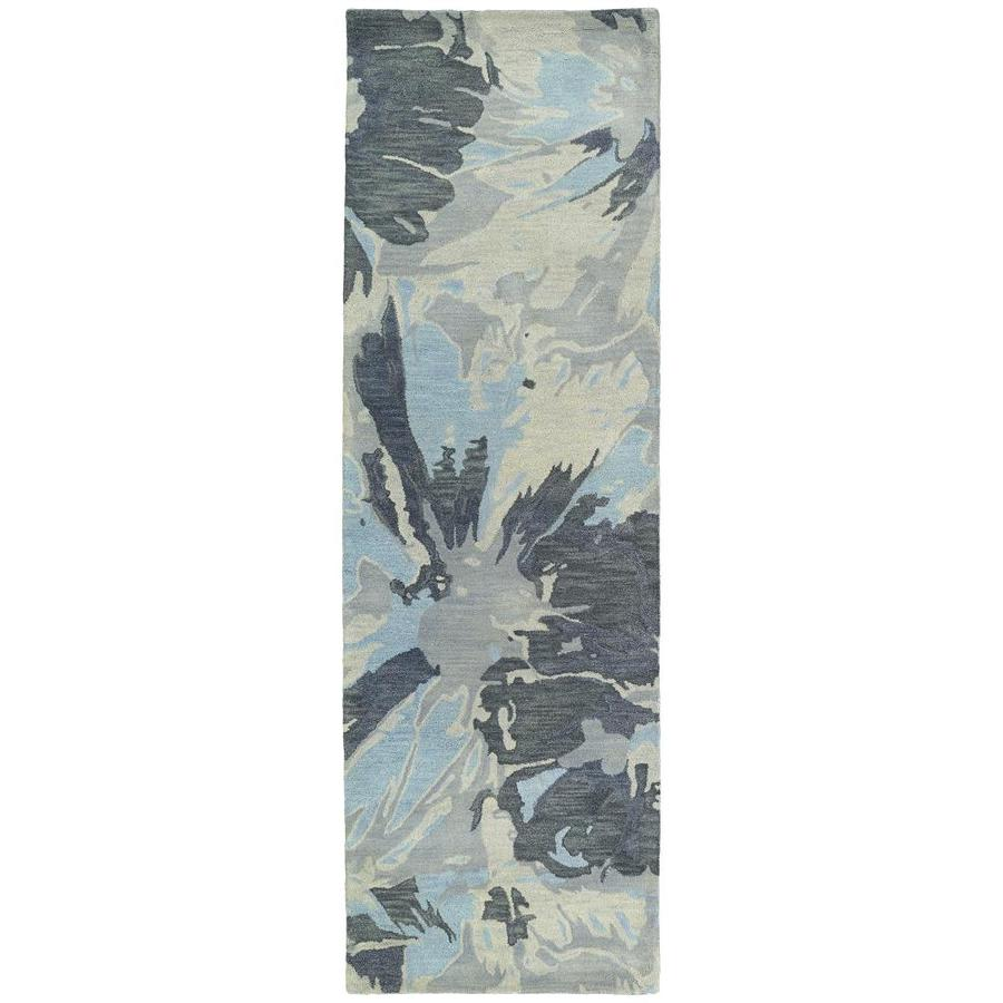 Kaleen Brushstrokes Grey Indoor Handcrafted Distressed Runner (Common: 3 x 8; Actual: 2.5-ft W x 8-ft L)
