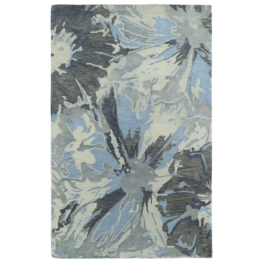 Kaleen Brushstrokes Grey Rectangular Indoor Handcrafted Distressed Area Rug (Common: 4 x 6; Actual: 3.5-ft W x 5.5-ft L x 0-ft Dia)