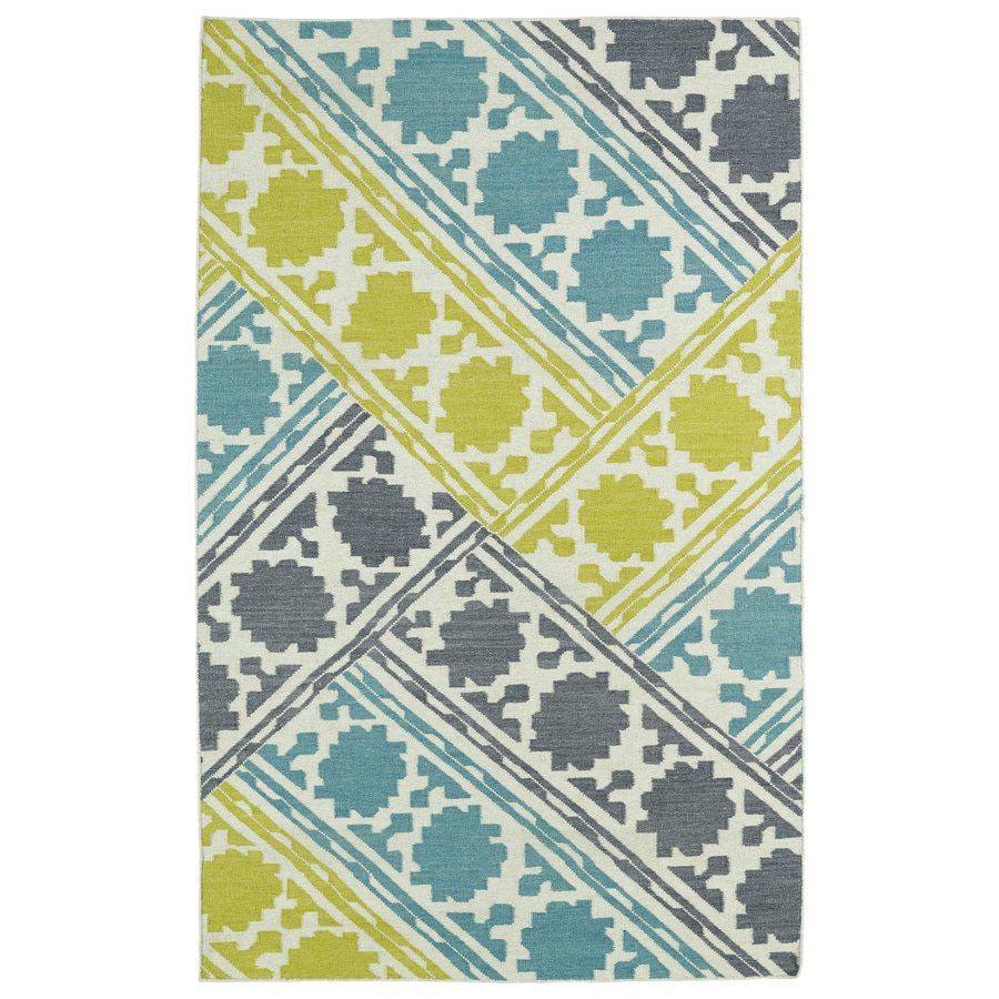 Kaleen Glam Turquoise Rectangular Indoor Handcrafted Kids Area Rug (Common: 5 x 7; Actual: 5-ft W x 8-ft L x 0-ft Dia)