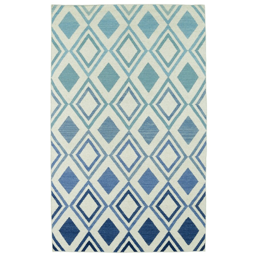 Kaleen Glam Blue Rectangular Indoor Handcrafted Distressed Area Rug (Common: 4 x 6; Actual: 3.5-ft W x 5.5-ft L x 0-ft Dia)