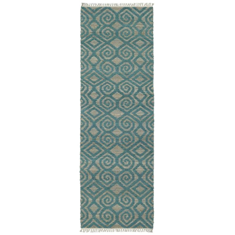 Kaleen Kenwood Teal Rectangular Indoor Handcrafted Oriental Runner (Common: 2 x 8; Actual: 2.5-ft W x 8-ft L)