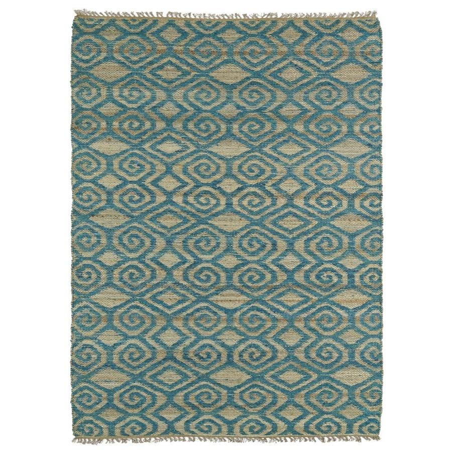 Kaleen Kenwood Teal Rectangular Indoor Handcrafted Oriental Area Rug (Common: 8 x 9; Actual: 7.5-ft W x 9-ft L)