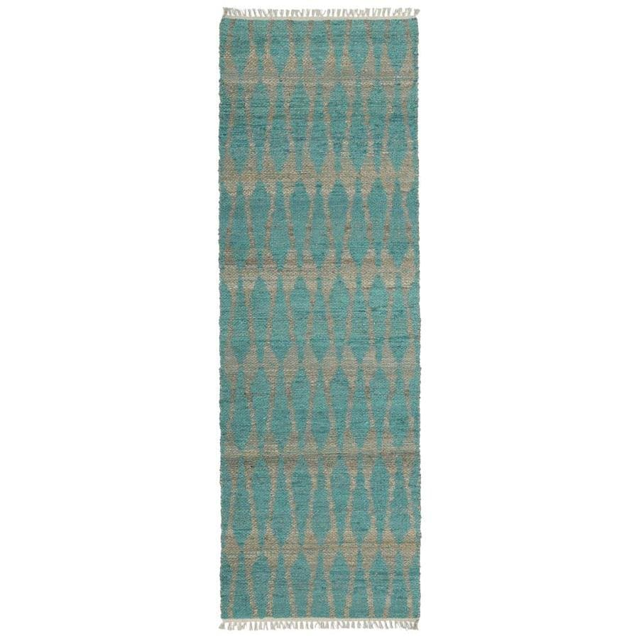 Kaleen Kenwood Teal Rectangular Indoor Handcrafted Oriental Runner (Common: 2 x 6; Actual: 2-ft W x 6-ft L)