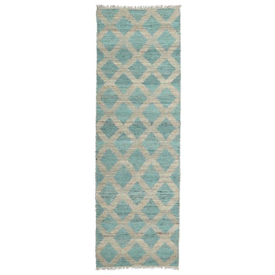 Kaleen Kenwood Teal Rectangular Indoor Handcrafted Oriental Runner (Common: 2 x 8; Actual: 2.5-ft W x 8-ft L)