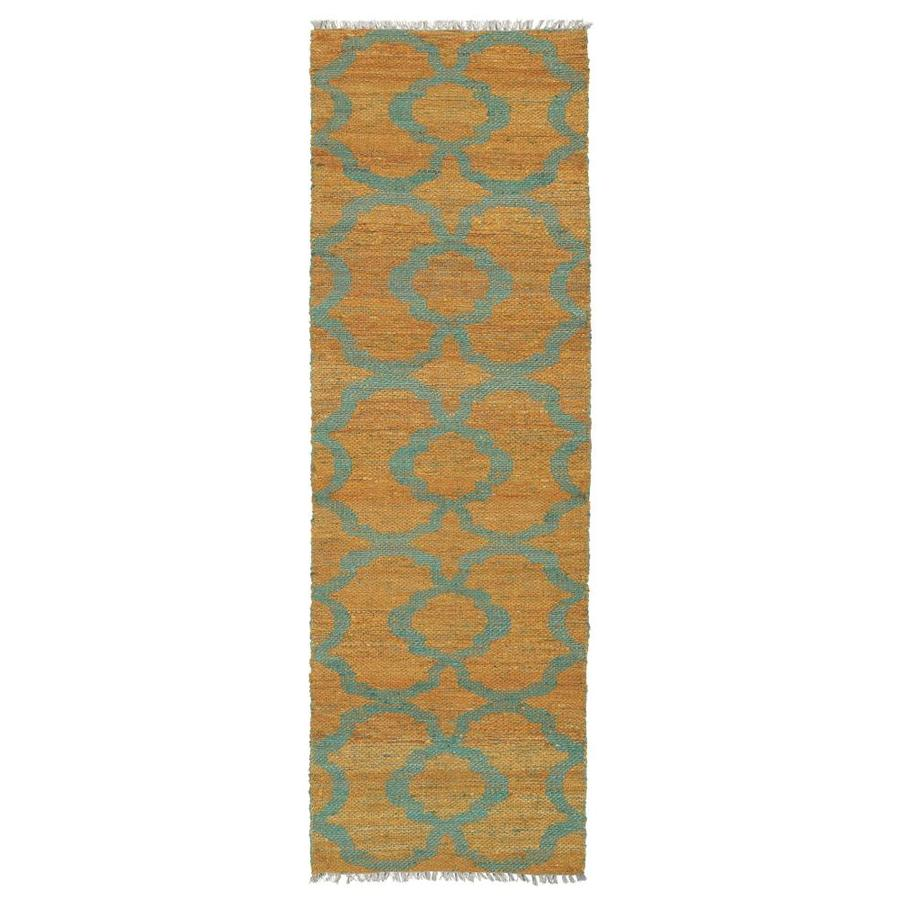 Kaleen Kenwood Turquoise Rectangular Indoor Handcrafted Oriental Runner (Common: 2 x 8; Actual: 2.5-ft W x 8-ft L)