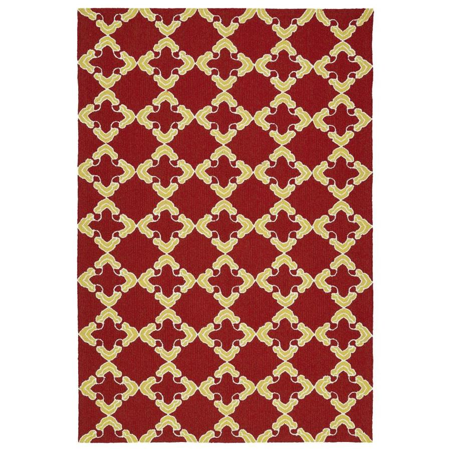 Kaleen Escape Red Rectangular Indoor/Outdoor Handcrafted Coastal Area Rug (Common: 5 x 8; Actual: 5-ft W x 7.5-ft L)