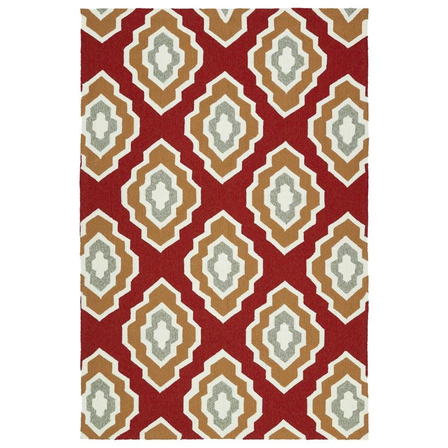 Kaleen Escape Red Rectangular Indoor/Outdoor Handcrafted Coastal Area Rug (Common: 5 x 8; Actual: 5-ft W x 7.5-ft L)
