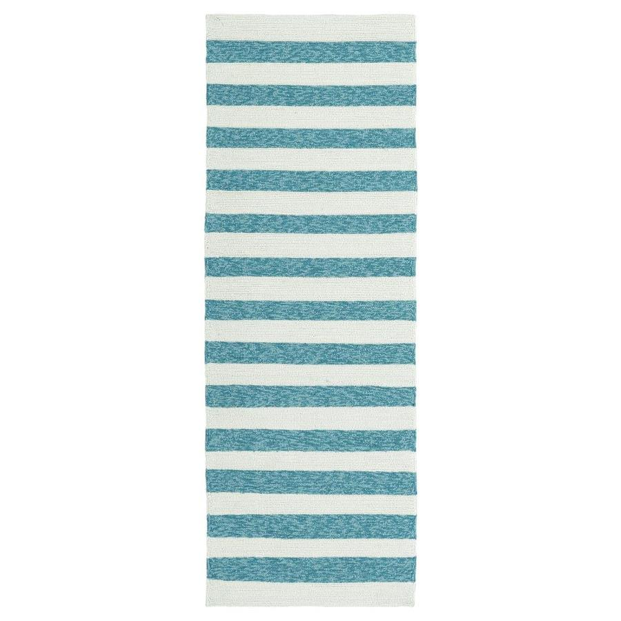 Kaleen Escape Blue Indoor/Outdoor Handcrafted Coastal Runner (Common: 2 x 6; Actual: 2-ft W x 6-ft L)