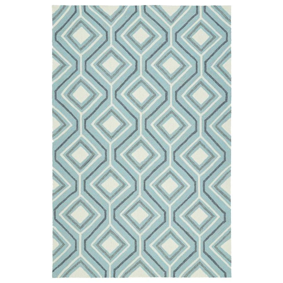 Kaleen Escape Blue Indoor/Outdoor Handcrafted Coastal Area Rug (Common: 5 x 8; Actual: 5-ft W x 7.5-ft L)
