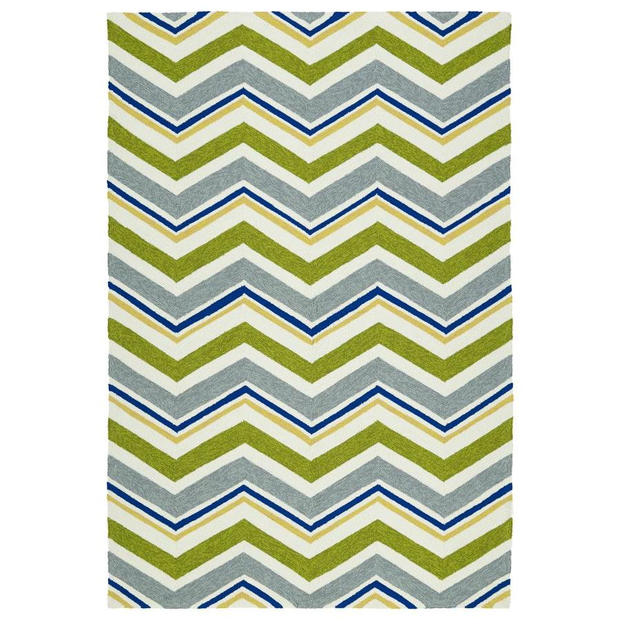 Kaleen Escape Green Rectangular Indoor/Outdoor Handcrafted Coastal Area Rug (Common: 5 x 8; Actual: 5-ft W x 7.5-ft L)