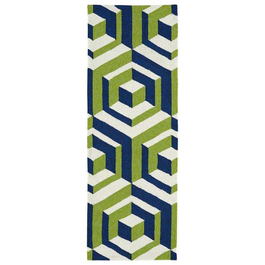 Kaleen Escape Navy Rectangular Indoor/Outdoor Handcrafted Coastal Runner (Common: 2 x 6; Actual: 2-ft W x 6-ft L)