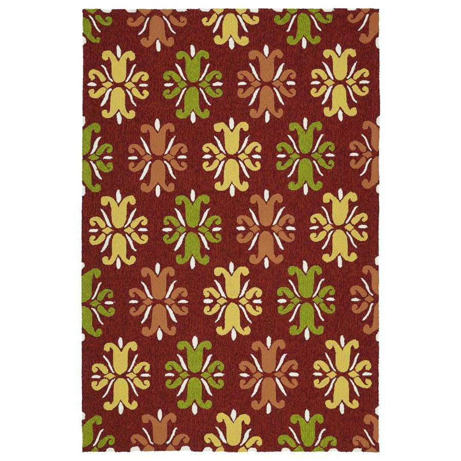 Kaleen Escape Red Rectangular Indoor/Outdoor Handcrafted Coastal Area Rug (Common: 4 x 6; Actual: 4-ft W x 6-ft L)