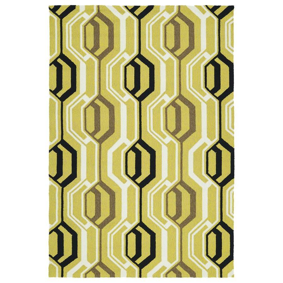Kaleen Escape Gold Rectangular Indoor/Outdoor Handcrafted Coastal Area Rug (Common: 8 x 10; Actual: 8-ft W x 10-ft L)