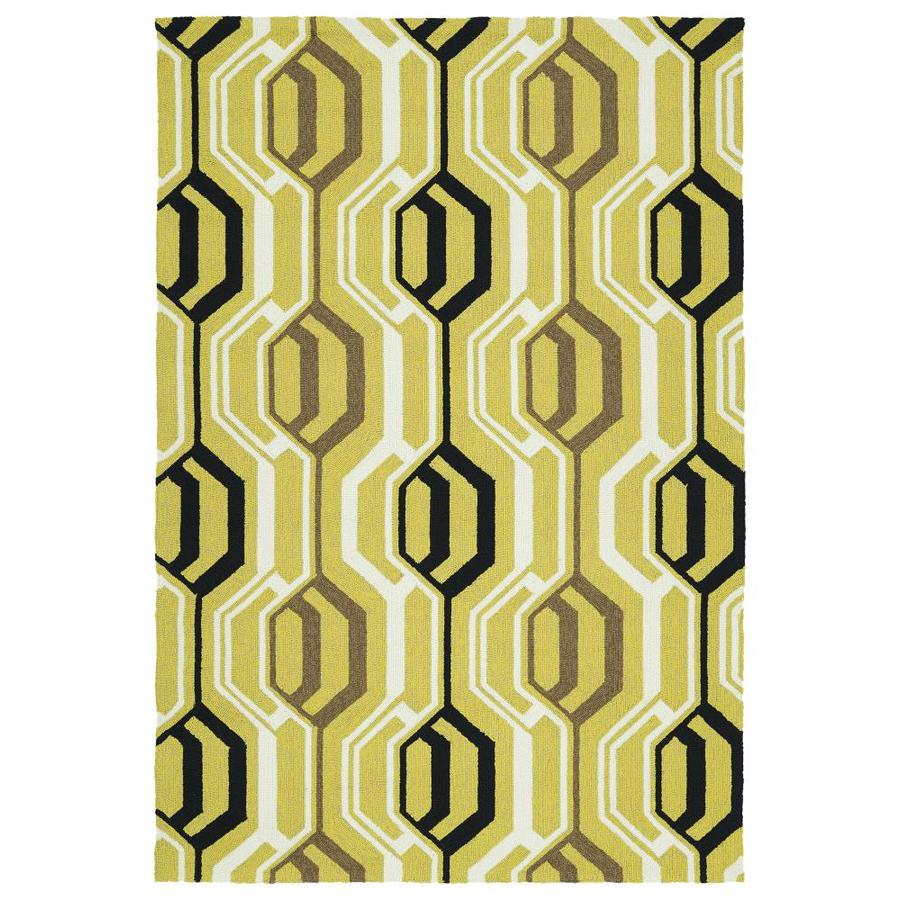 Kaleen Escape Gold Indoor/Outdoor Handcrafted Coastal Area Rug (Common: 9 x 12; Actual: 9-ft W x 12-ft L)