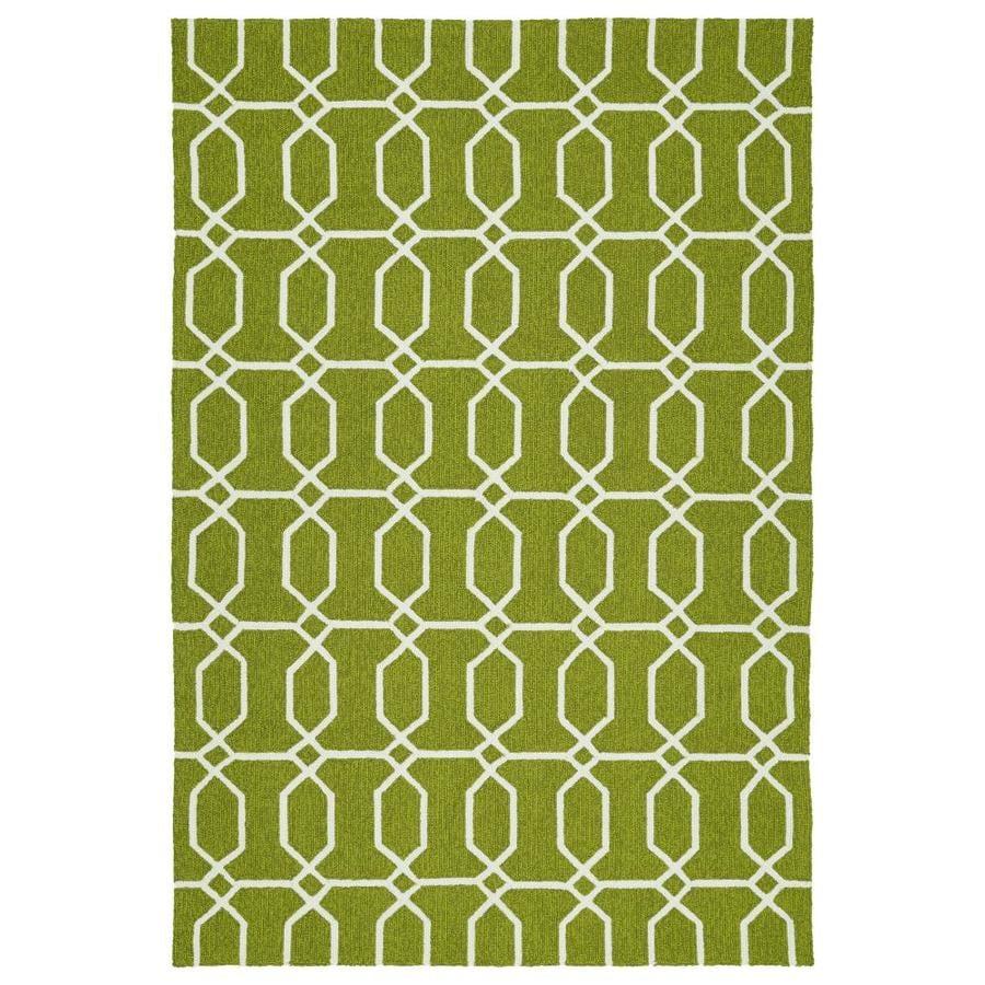Kaleen Escape Green Rectangular Indoor/Outdoor Handcrafted Coastal Area Rug (Common: 4 x 6; Actual: 4-ft W x 6-ft L)