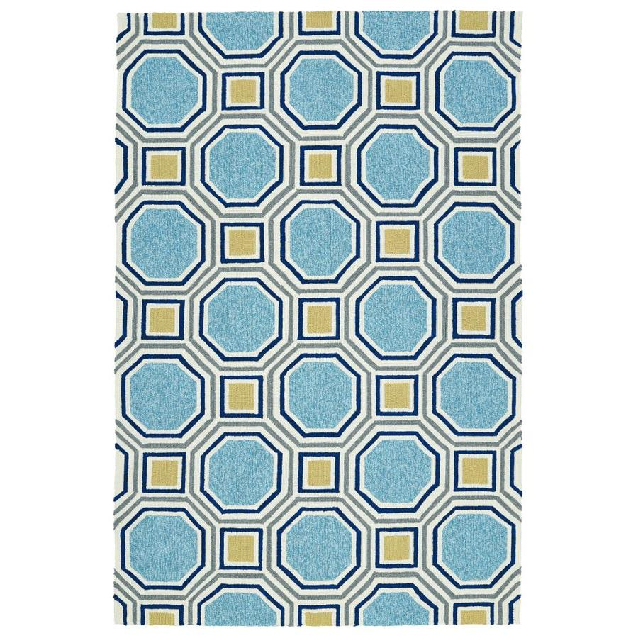 Kaleen Escape Blue Indoor/Outdoor Handcrafted Coastal Area Rug (Common: 8 x 10; Actual: 8-ft W x 10-ft L)