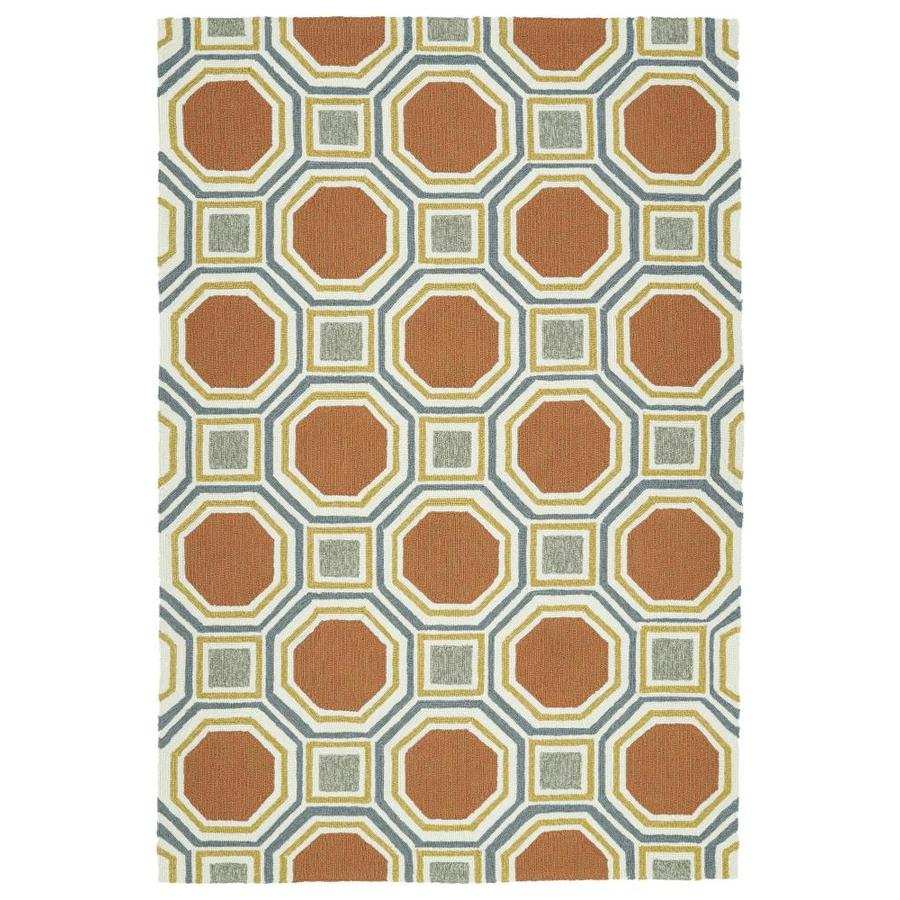 Kaleen Escape Pumpkin Indoor/Outdoor Handcrafted Coastal Area Rug (Common: 5 x 8; Actual: 5-ft W x 7.5-ft L)