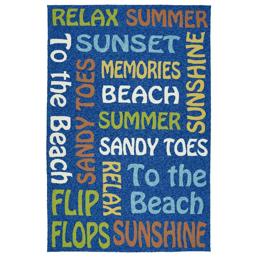 Kaleen Escape Blue Indoor/Outdoor Handcrafted Coastal Area Rug (Common: 9 x 12; Actual: 9-ft W x 12-ft L)