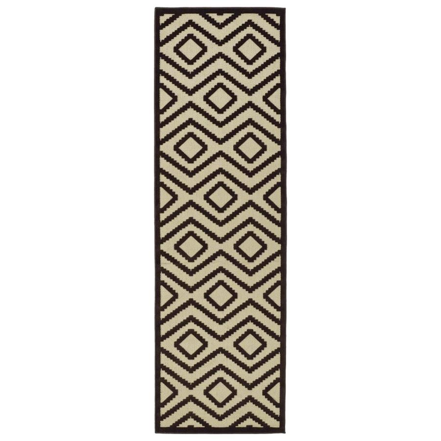 Kaleen A Breath of Fresh Air Brown Rectangular Indoor/Outdoor Machine-Made Novelty Runner (Common: 2 x 8; Actual: 2.5-ft W x 7.83-ft L)