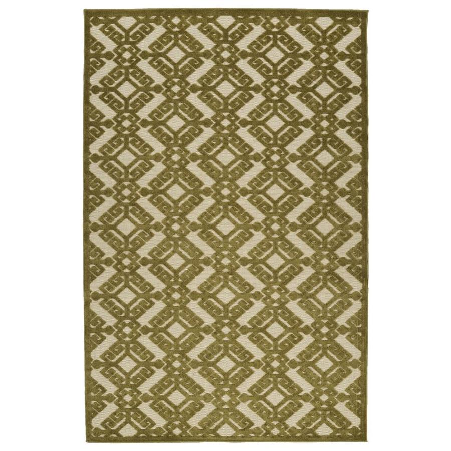 Kaleen A Breath of Fresh Air Olive Rectangular Indoor/Outdoor Machine-Made Novelty Throw Rug (Common: 2 x 4; Actual: 2.08-ft W x 4-ft L)
