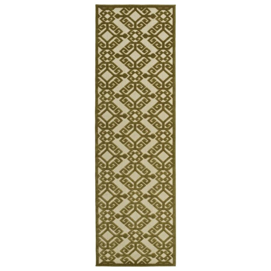 Kaleen A Breath of Fresh Air Olive Rectangular Indoor/Outdoor Machine-Made Novelty Runner (Common: 2 x 8; Actual: 2.5-ft W x 7.83-ft L)