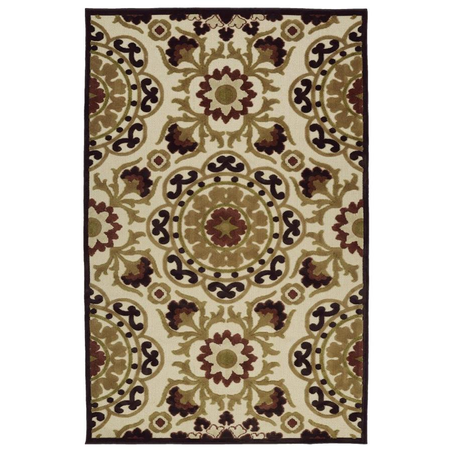Kaleen A Breath of Fresh Air Khaki Rectangular Indoor/Outdoor Machine-Made Novelty Area Rug (Common: 5 x 8; Actual: 5-ft W x 7.5-ft L)