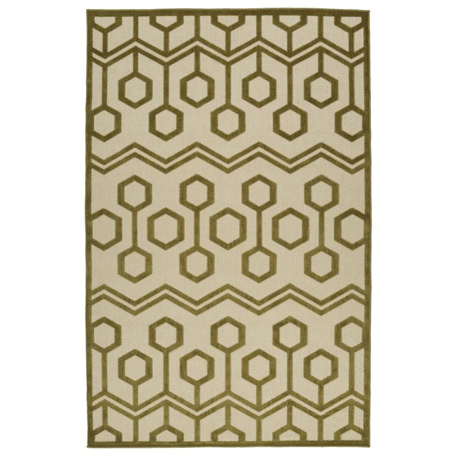 Kaleen A Breath of Fresh Air Olive Rectangular Indoor/Outdoor Machine-Made Novelty Area Rug (Common: 5 x 8; Actual: 5-ft W x 7.5-ft L)