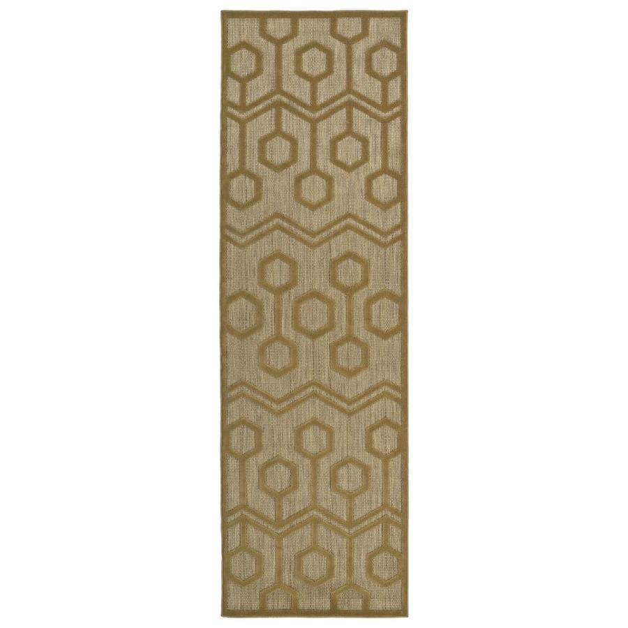 Kaleen A Breath of Fresh Air Light Brown Rectangular Indoor/Outdoor Machine-Made Novelty Runner (Common: 2 x 8; Actual: 2.5-ft W x 7.83-ft L)