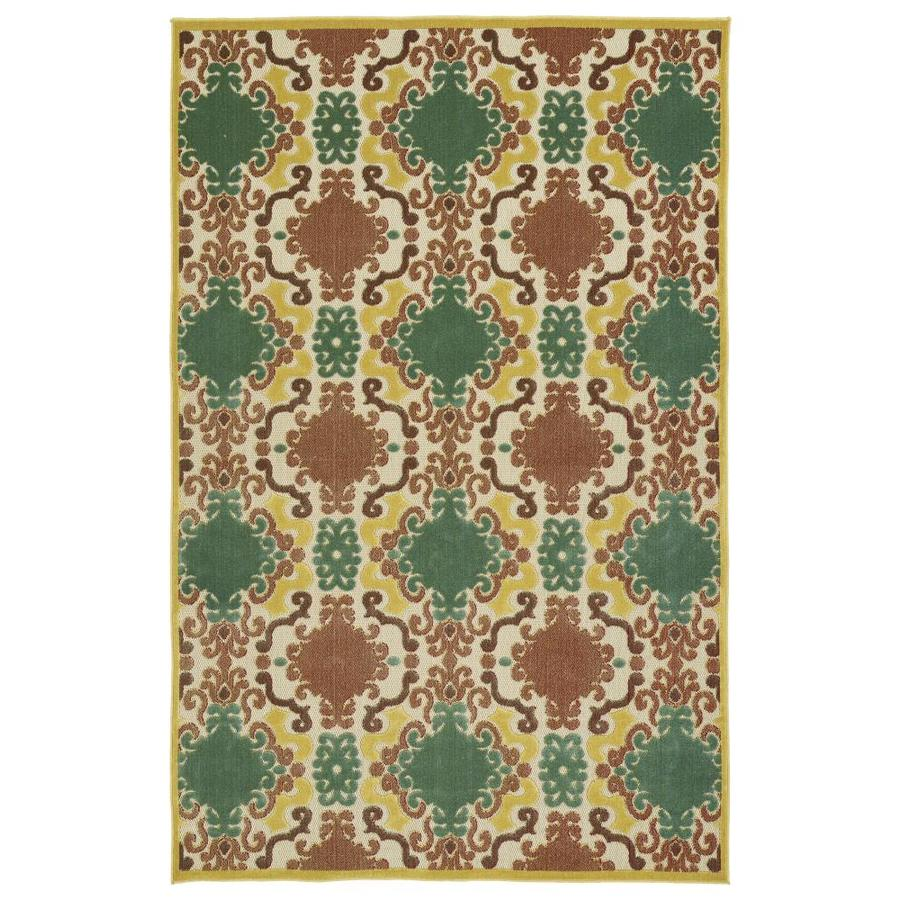 Kaleen A Breath of Fresh Air Gold Rectangular Indoor/Outdoor Machine-Made Novelty Area Rug (Common: 5 x 8; Actual: 5-ft W x 7.5-ft L)