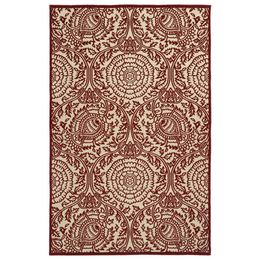 Kaleen A Breath of Fresh Air Red Rectangular Indoor/Outdoor Machine-Made Novelty Area Rug (Common: 5 x 8; Actual: 5-ft W x 7.5-ft L)