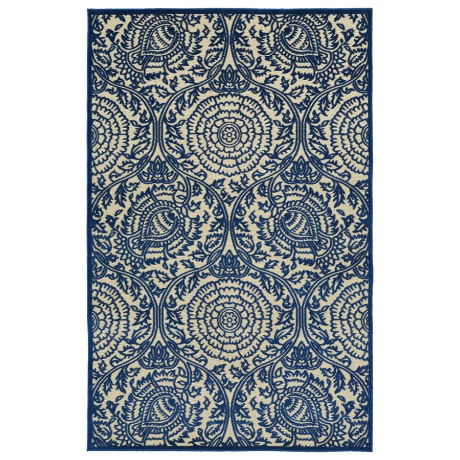 Kaleen A Breath of Fresh Air Navy Rectangular Indoor/Outdoor Machine-Made Novelty Area Rug (Common: 9 x 12; Actual: 8.66-ft W x 12-ft L)