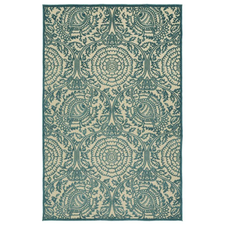 Kaleen A Breath of Fresh Air Blue Indoor/Outdoor Novelty Area Rug (Common: 4 x 6; Actual: 3.83-ft W x 5.66-ft L)