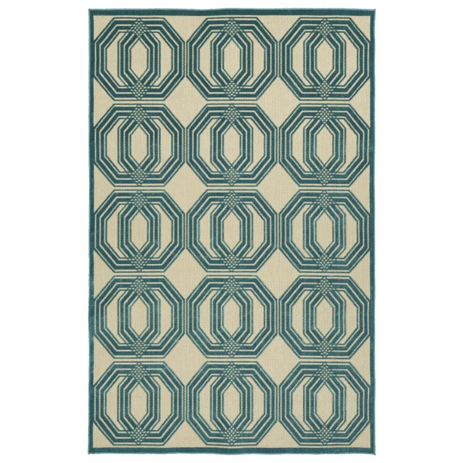 Kaleen A Breath of Fresh Air Blue Rectangular Indoor/Outdoor Machine-Made Novelty Area Rug (Common: 4 x 6; Actual: 3.83-ft W x 5.66-ft L)
