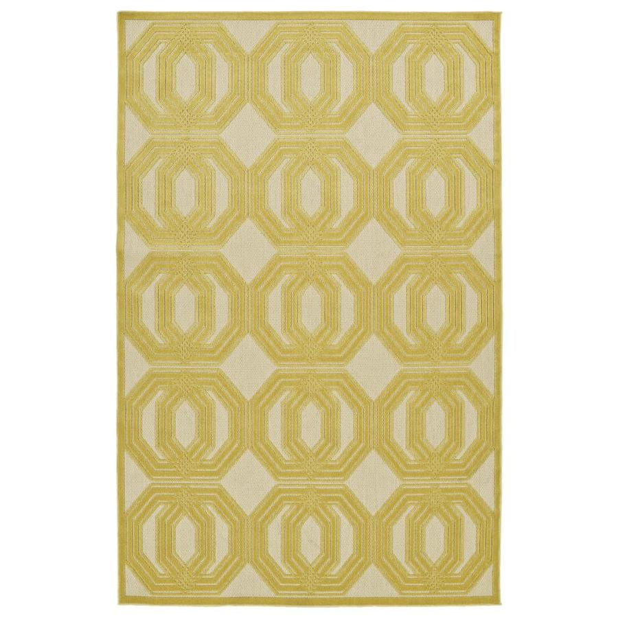Kaleen A Breath of Fresh Air Gold Rectangular Indoor/Outdoor Machine-Made Novelty Throw Rug (Common: 2 x 4; Actual: 2.08-ft W x 4-ft L)