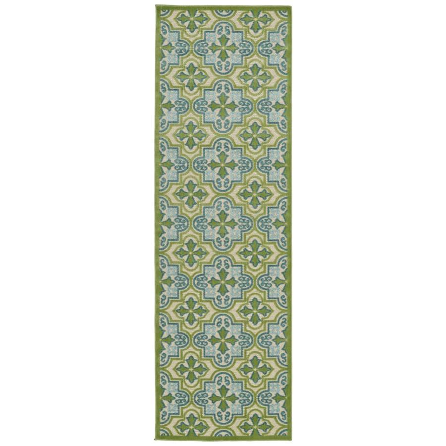 Kaleen A Breath of Fresh Air Green Indoor/Outdoor Novelty Runner (Common: 2 x 8; Actual: 2.5-ft W x 7.83-ft L)