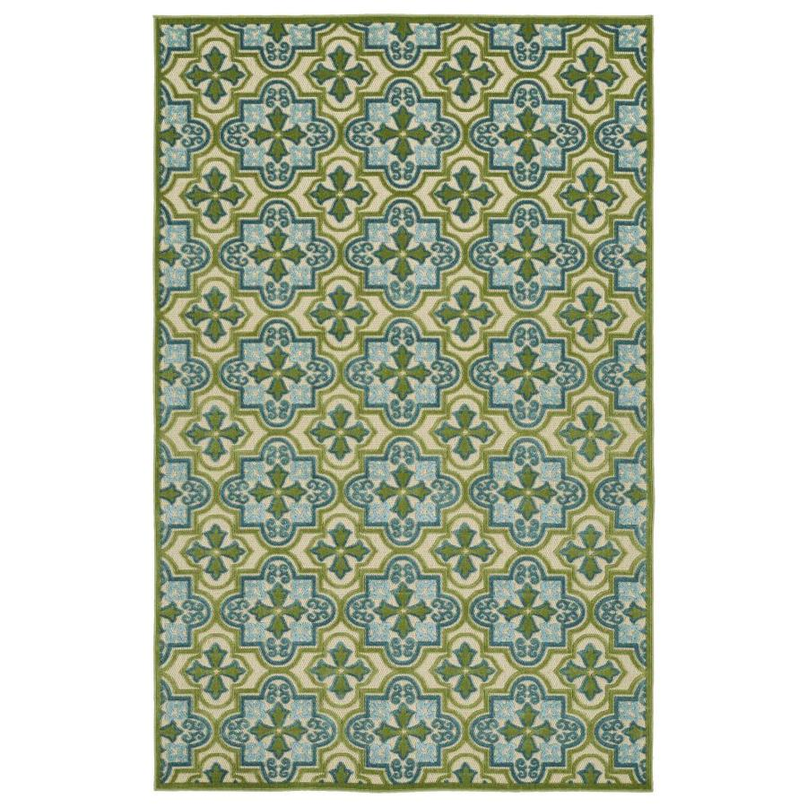 Kaleen A Breath of Fresh Air Green Rectangular Indoor/Outdoor Machine-Made Novelty Area Rug (Common: 4 x 6; Actual: 3.83-ft W x 5.66-ft L)