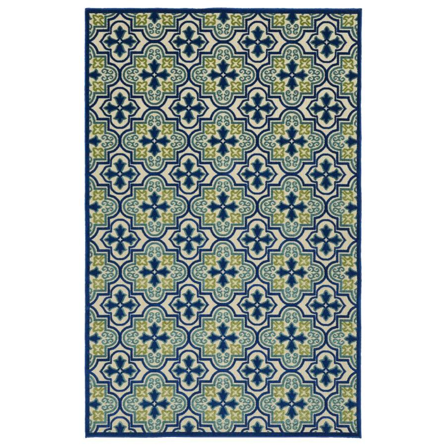 Kaleen A Breath of Fresh Air Blue Rectangular Indoor/Outdoor Machine-Made Novelty Area Rug (Common: 5 x 8; Actual: 5-ft W x 7.5-ft L)