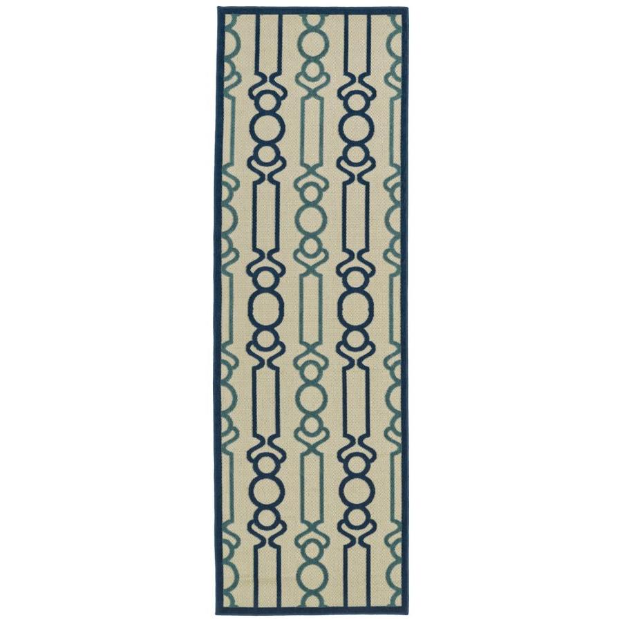 Kaleen A Breath of Fresh Air Navy Rectangular Indoor/Outdoor Machine-Made Novelty Runner (Common: 2 x 8; Actual: 2.5-ft W x 7.83-ft L)