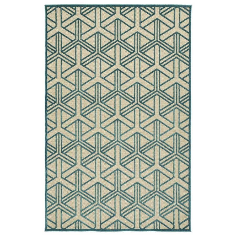 Kaleen A Breath of Fresh Air Blue Rectangular Indoor/Outdoor Machine-Made Novelty Throw Rug (Common: 2 x 4; Actual: 2.08-ft W x 4-ft L)
