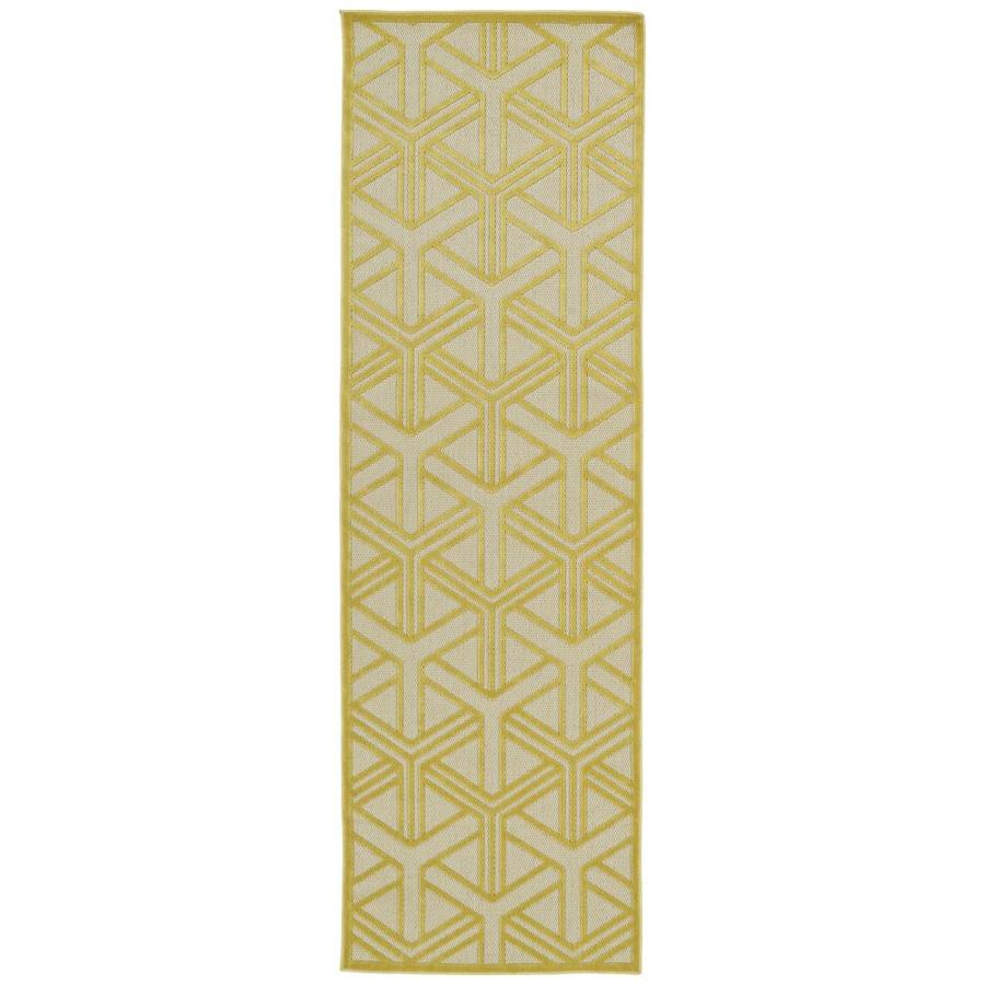 Kaleen A Breath of Fresh Air Gold Rectangular Indoor/Outdoor Machine-Made Novelty Runner (Common: 2 x 8; Actual: 2.5-ft W x 7.83-ft L)