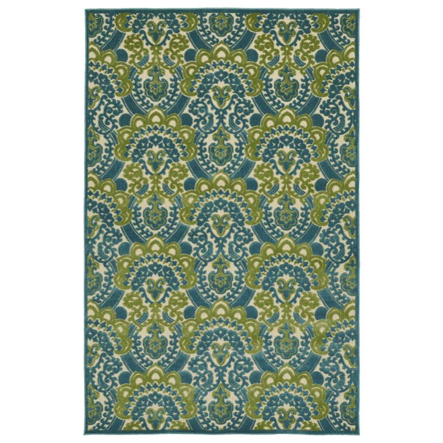 Kaleen A Breath of Fresh Air Blue Indoor/Outdoor Novelty Area Rug (Common: 5 x 8; Actual: 5-ft W x 7.5-ft L)