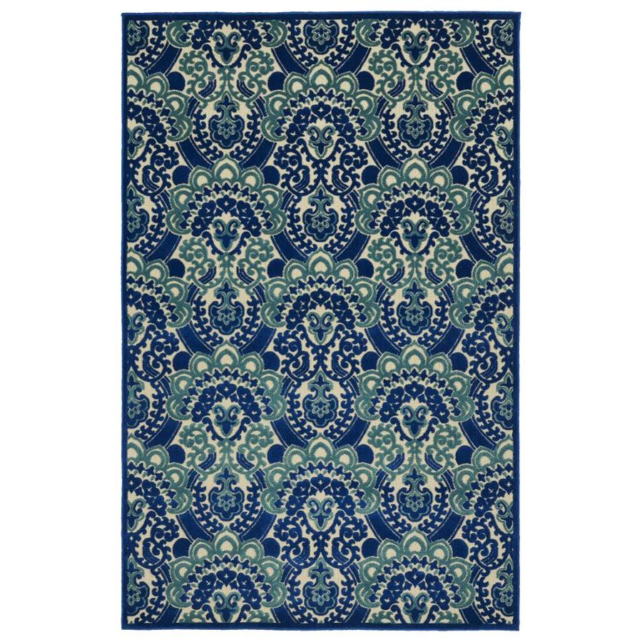 Kaleen A Breath of Fresh Air Navy Rectangular Indoor/Outdoor Machine-Made Novelty Area Rug (Common: 5 x 8; Actual: 5-ft W x 7.5-ft L)