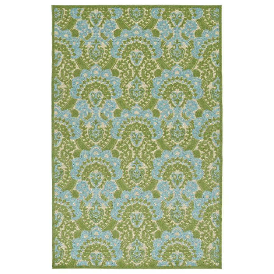 Kaleen A Breath of Fresh Air Green Rectangular Indoor/Outdoor Machine-Made Novelty Area Rug (Common: 5 x 8; Actual: 5-ft W x 7.5-ft L)